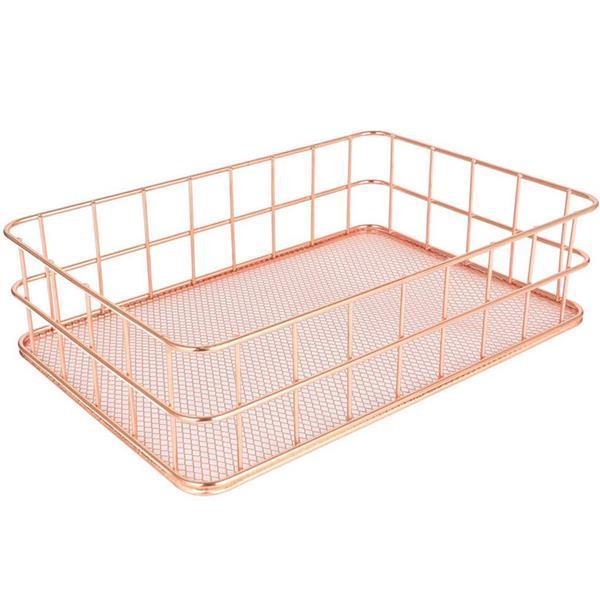 Καλάθι, ροζ-χρυσό, Υ6x24,3x15,4 εκ., μεταλλικό